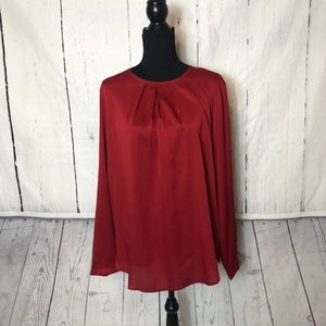 Ann Taylor Tops - Ann Taylor Womens Blouse Size XL Red Long Sleeve